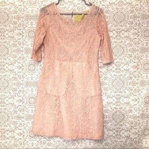 Anthropologie Maeve Lefkara Pink Lace Dress
